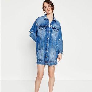 Zara blue longline denim jacket